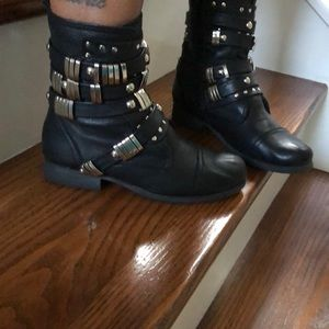 Black and silver studded boots